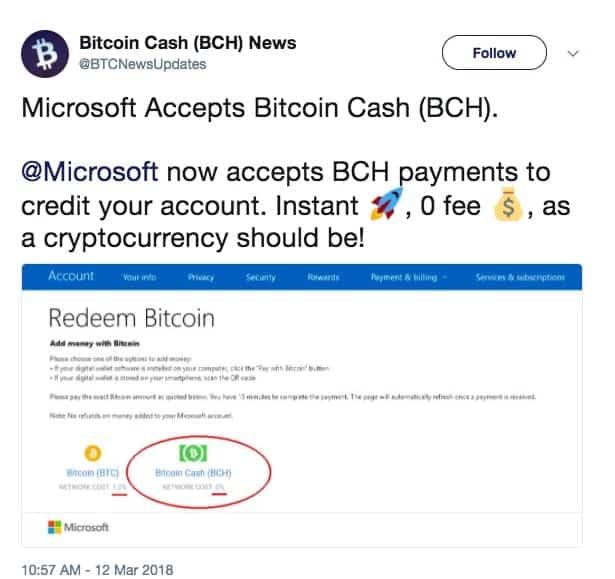 microsoft accepts bitcoin cash don t believe fake news